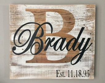 Last name sign, pallet sign, name sign, pallet signs, last name signs, established signs, wedding signs, names signs, reclaimed wood sign