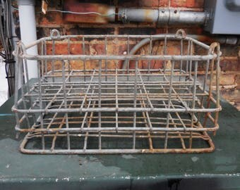 Vintage Milk Crate Metal w/ dividers Cage wire basket  Storage Organizer Industrial