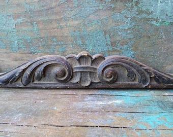 Antique wood ornamental pediment Decorative furniture embellishments Supplies Carved wood architectural salvage