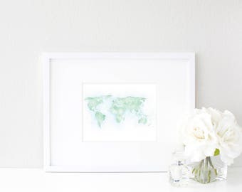 World Watercolor Map | Destination Map Print | Personalized Watercolor Map Print | Honeymoon Map | Anniversary Map | Watercolor Wedding Map