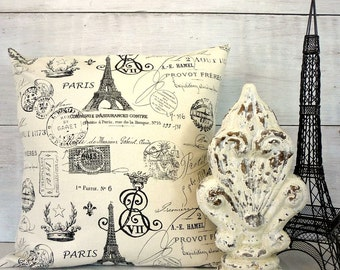 Shabby Cottage Chic French Pillow Cover With Eiffel Tower, Postmarks, Paris, Crowns - Black and Natural