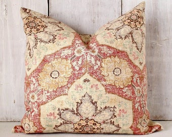 Distressed Morrocan Style Medallion PIllow Cover - Rust Pillow - Rust and Ecru Throw Pillow Cover -