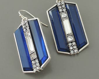 Art Deco Earrings - Vintage Inspired Earrings - Platinum Silver Earrings - Sapphire Blue Earrings - Crystal Earrings - Bridal Earrings