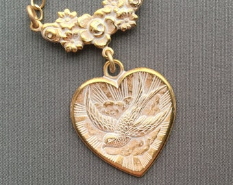 Heart Necklace - Heart Jewelry - Victorian Jewelry - Bird Necklace - Heart Pendant - Romantic Necklace - Romantic Jewelry - Gifts for Her