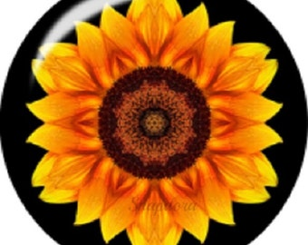 Snap charm for 18-20 mm Snap jewelry. Sunflower snap charms is 20 mm & made with a high domed optic glass cabochon