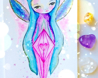 Messages from the fairies - watercolor fairy painting, fairy art, whimsical art, mixed media art, guidance