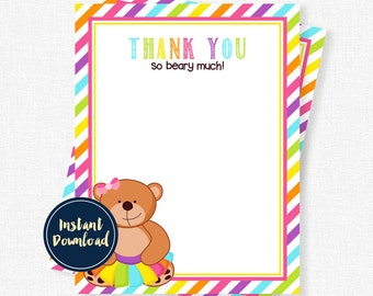 Teddy Bear Thank You Cards, Bear in a Tutu Party, Birthday Thank You Cards, Rainbow Note Printable INSTANT DOWNLOAD