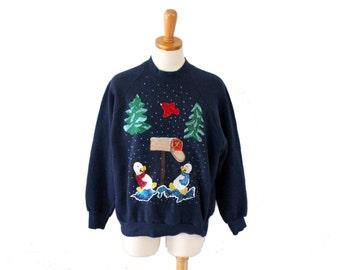 Vintage 90s Ugly Christmas Sweater // blue Novelty penguin Iron On Sweatshirt // Women Large, Men Small