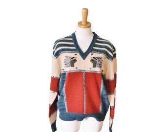 50% off sale // Vintage 70s Indian Pattern Novelty Jumper - Women L Men M - hippie, boho, stripes, v neck