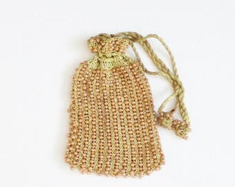 60% off sale // Vintage 40s does 20s Beaded Purse with Drawstring Tassels, Peach and Olive