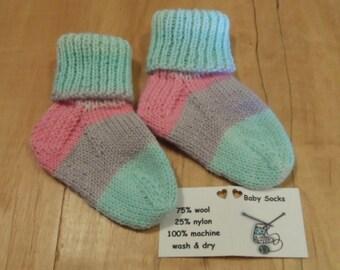 Tiny Green/Pink/Dark Pink/Lavendar/Green hand knit baby socks