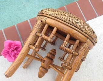 BAMBOO RATTAN STOOL / Chinese Chippendale Style Rattan Stool /  Woven Rattan Stool / Bamboo Chippendale Stool Chinoiserie Retro Daisy Girl