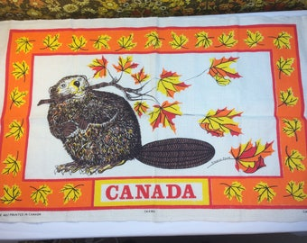 Vintage Retro Linen Tea Towel Eleanor Paine Canada Souvenir Beaver Orange 70s Campervan