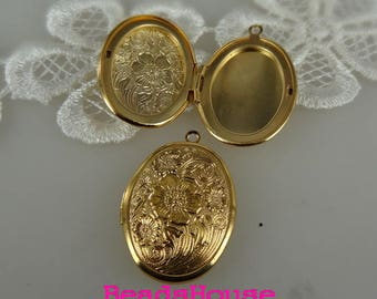 20%off  2pcs (23x30mm)High Quality Golden Plated Brass Oval Locket, NICKEL FREE
