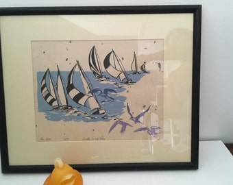 SAILBOAT LITHO SIGNED and Numbered Blues and Black, Seagulls Litho, Sailing Litho, by Dorothy Swartz Foley 70s/Beach Decor at Modern Logic