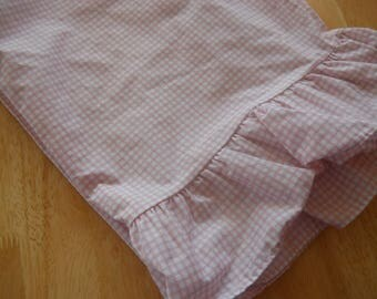 Vintage Pillowcase, Wamsutta, pink check, gingham, retro beddingp
