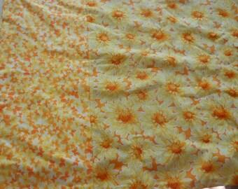 Handmade Pillowcase, yellow & orange flowers, cotton blend, retro bed