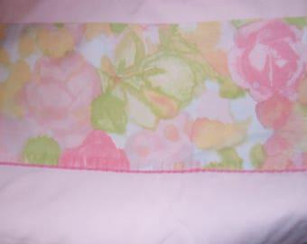Vintage sheet, twin flat sheet, flower power, blue/purple/green/yellow, reclaimed bed linen