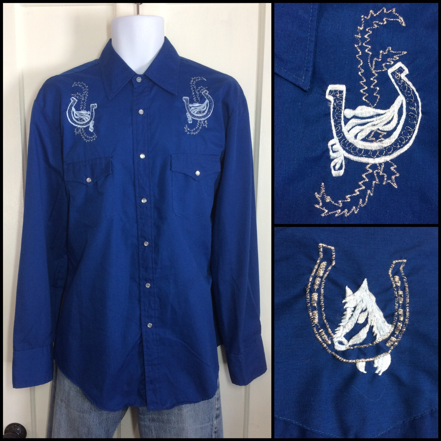 Blue with silver embroidered horse and lucky horseshoes