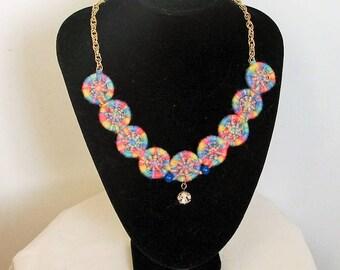 Dorset Button Necklace 'Crystal Rainbow'