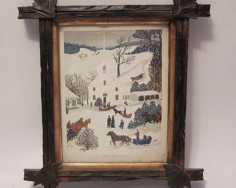 Antique Vintage Wooden Black Forest Picture Frame