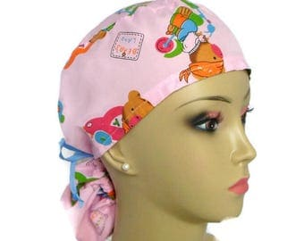 Ponytail Scrub Cap: Playful Pediatic Nurse Graduation Gift, Surgical Scrub Hat, Chemo Headwear,Cancer Patient Hats Great with without Hair