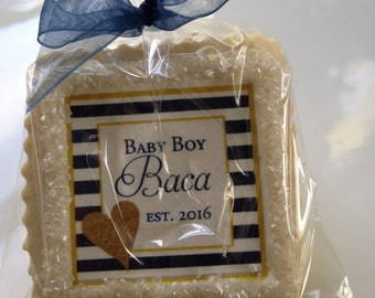 custom cookie favors baby shower navy and gold stripes