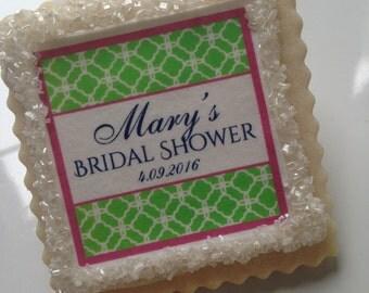 Bridal Shower custom cookie favors quatrefoil