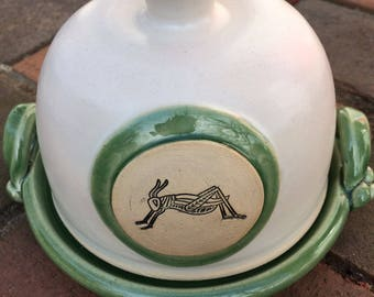 Ready to Ship: Ceramic Butter Dish or Small Cheese Dish with Grasshopper in Celadon and White