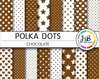 Polka Dots Digital Paper, Chocolate, Brown, White, Dots, Hearts, Stars, Digital Paper, Digital Download, Scrapbook Paper, Digital Paper Pack