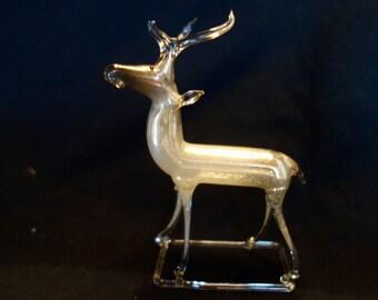 German 1930's Silver Blown Mercury Glass Reindeer