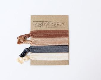 Elastic Hair Ties / Set of 4 / Brown / Tan / Dark Grey / Cream / Hair Accessories / Yoga Hair Tie