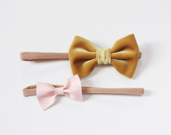 Baby Bow Headband Set / Velvet / Yellow / Pink / Faux Leather / Newborn Headband / Toddler Headband / One Size Fits Most / Stretchy