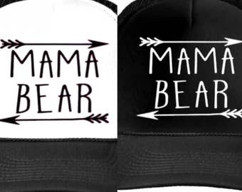MAMA bear arrow Letters Print Baseball Cap Trucker Hat For Women. Adjustable Size comes in all black or white and black