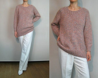 80s Salmon Flecked Mohair Long Sweater