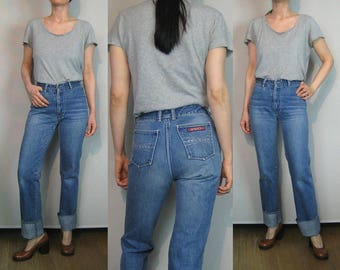70s SASSON High Waist Jeans / Sasson Jeans / 70s Straight Leg Jeans / 70s Faded Jeans