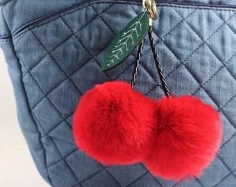 Fur Rabbit PomPoms Keychain Purse Pendant Bag Accessory Backpack Charm Fur Pom Pom Fur Pompom Ball