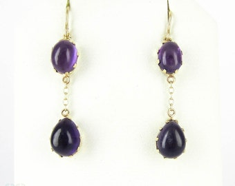 Amethyst Drop Earrings, Double Drop Purple Gemstones in 9 Carat Gold. February Birthstone.