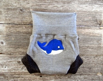 Upcycled Merino Wool Soaker Cover Diaper Cover With Added Doubler Gray /Black With Whale Applique LARGE 12 -24M Kidsgogreen