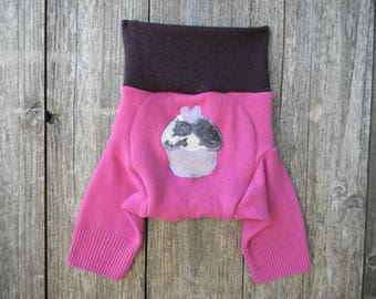 Upcycled Wool Shorties Soaker Cover Diaper Cover With Added Doubler Pink/ Burgundy With Cupcake Applique MEDIUM 6-12M