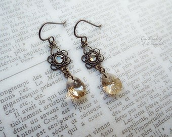 Champagne Blush ~ Victorian Inspired vintage brass earrings Earrings with Swarovski crystals