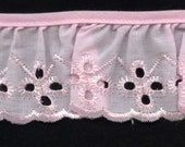Eyelet Lace ruffles in pink for baby couture, blankets, bedding 66 yards wholesale