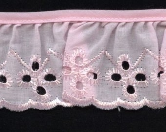 Eyelet Lace ruffles in pink for baby couture, blankets, bedding 22 yards wholesale
