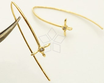 EA-199-GD / 2 Pcs - Long Sprout Earring Hooks, Thin Cross Ear Wires, Solitaire CZ Ear Hooks, 16K Gold Plated over Brass / 39mm