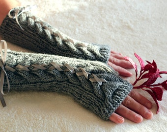 Gray LONG Hand Knitted Fingerless Gloves with Satin Ribbon, Wool Soft Arm Warmers, Long Knit Wool Mittens, Unique Gift, Gift for Her