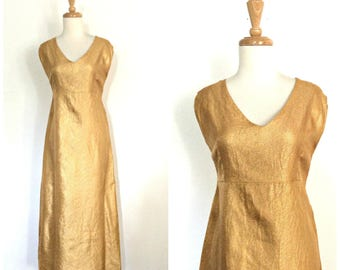 Vintage Gold Dress - prom dress - alternative wedding - tea length - maxi dress - party dress - S M