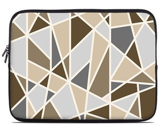Geometric laptop sleeve, brown, gray, laptop cover, laptop case, to fit 10, 13, 15, 17 inch