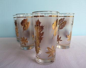 Vintage Libbey Gold Leaf Glasses - Tumblers - Drinking Glasses