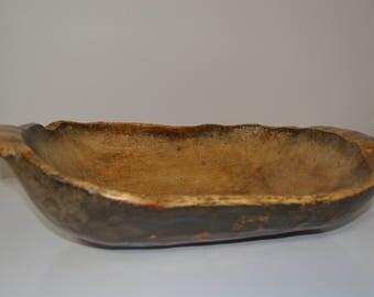 Primitive wooden dough bowl - wood country kitchen - butter bowl antique - vintage decor