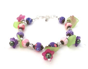 Deluxe Flowered Bracelet- Kawaii Pink & Purple Lucite Flowers - Green Leaves and Flowered Beads - Green Glass Pearls - Detailed Silver Beads